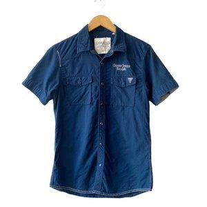 Guess Military Utility Shirt Snap Button Down Embroidered Short Sleeves Size S